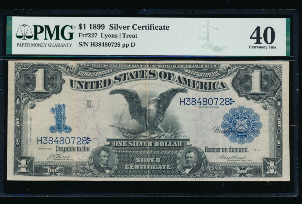 Fr. 227 1899 $1  Silver Certificate  PMG 40 H38480728