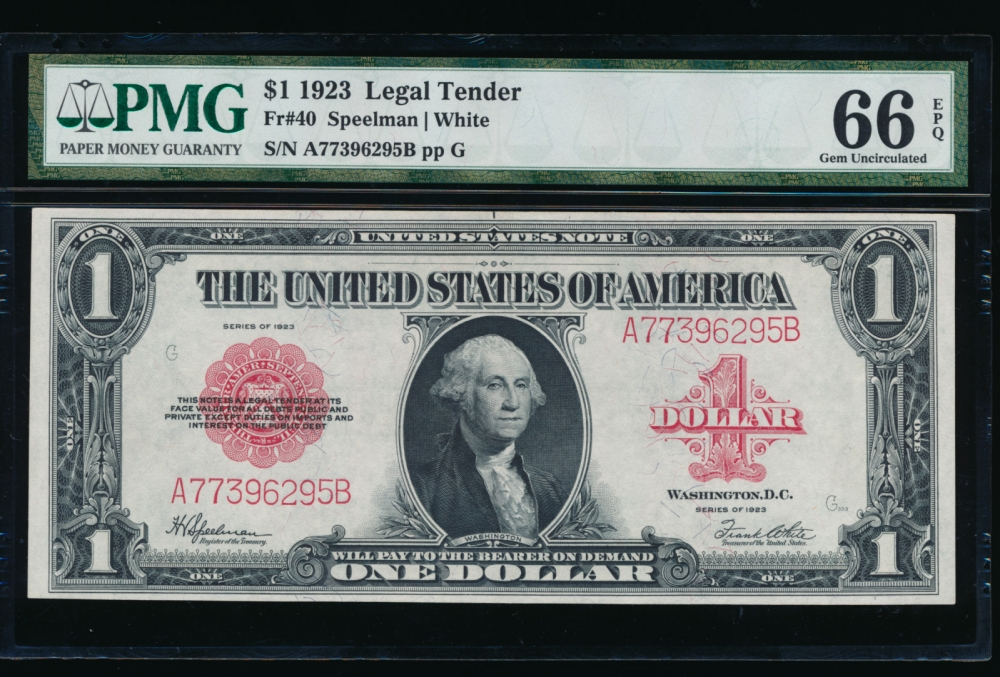 Fr. 40 1923 $1  Legal Tender  PMG 66EPQ A77396295B obverse