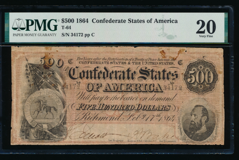Fr. T-64 1864 $500  Confederate  PMG 20 comment 34172