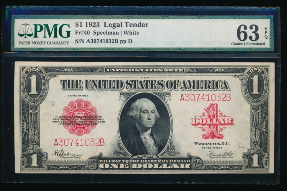 Fr. 40 1923 $1  Legal Tender  PMG 63EPQ A30741032B