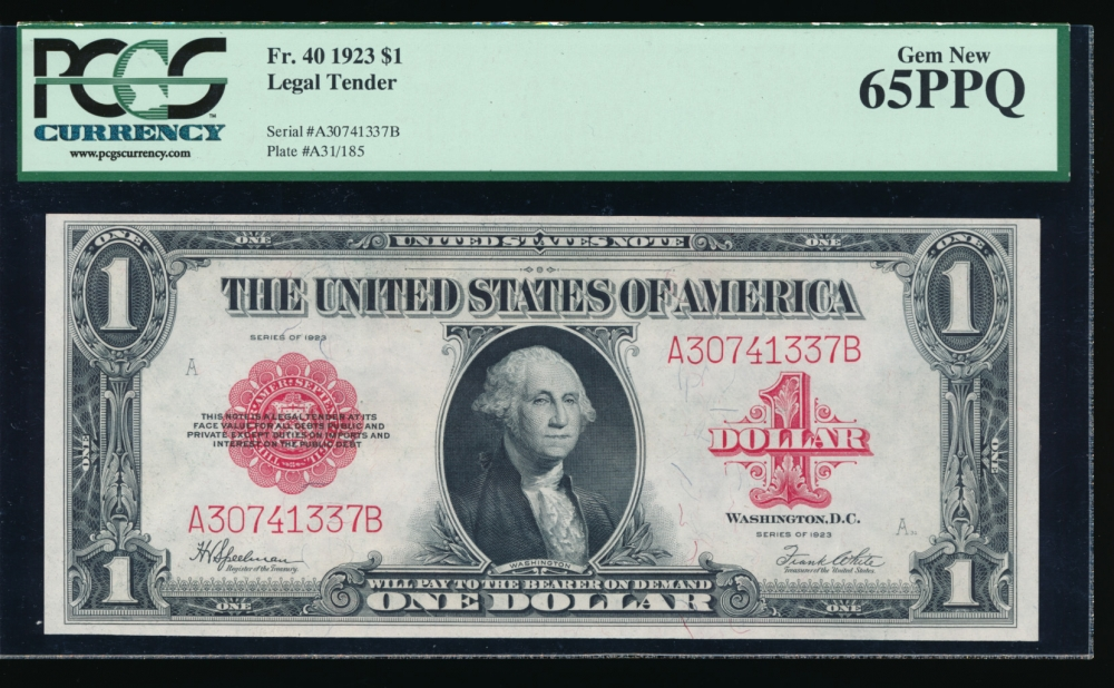 Fr. 40 1923 $1  Legal Tender  PCGS-C 65PPQ A30741337B