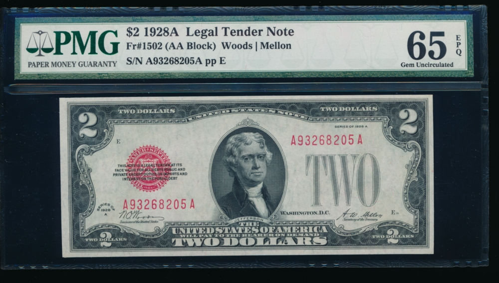 Fr. 1502 1928A $2  Legal Tender AA block PMG 65EPQ A93268205A