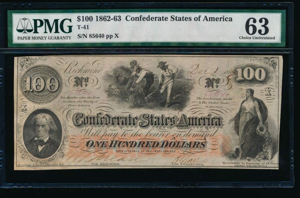Fr. T-41 1862 $100  Confederate  PMG 63 comment 85640