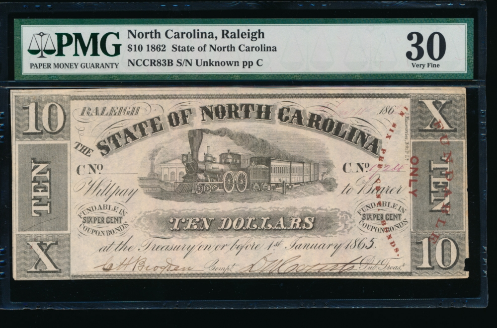 Fr. Cr NC-83B 1862 $10  Obsolete State of North Carolina, Raleigh PMG 30 comment 1724
