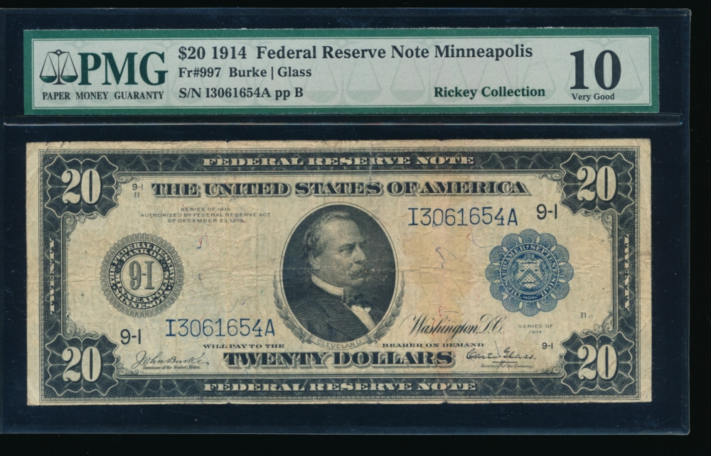 Fr. 997 1914 $20  Federal Reserve Note Minneapolis PMG 10 I3061654A obverse