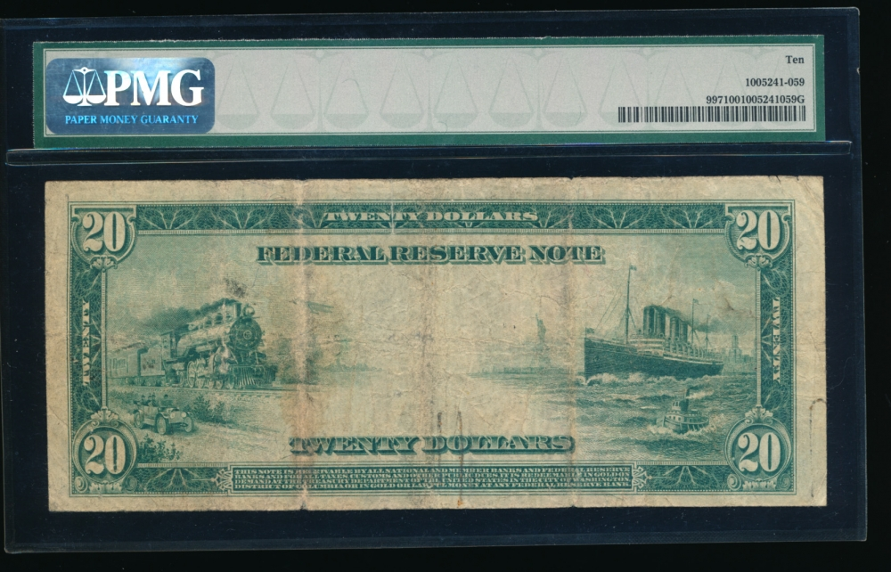 Fr. 997 1914 $20  Federal Reserve Note Minneapolis PMG 10 I3061654A reverse
