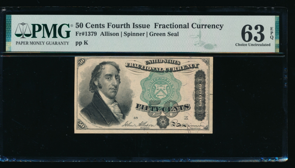 Fr. 1379 1869 $0.50  Fractional Fourth Issue: Green Seal PMG 63EPQ no serial number