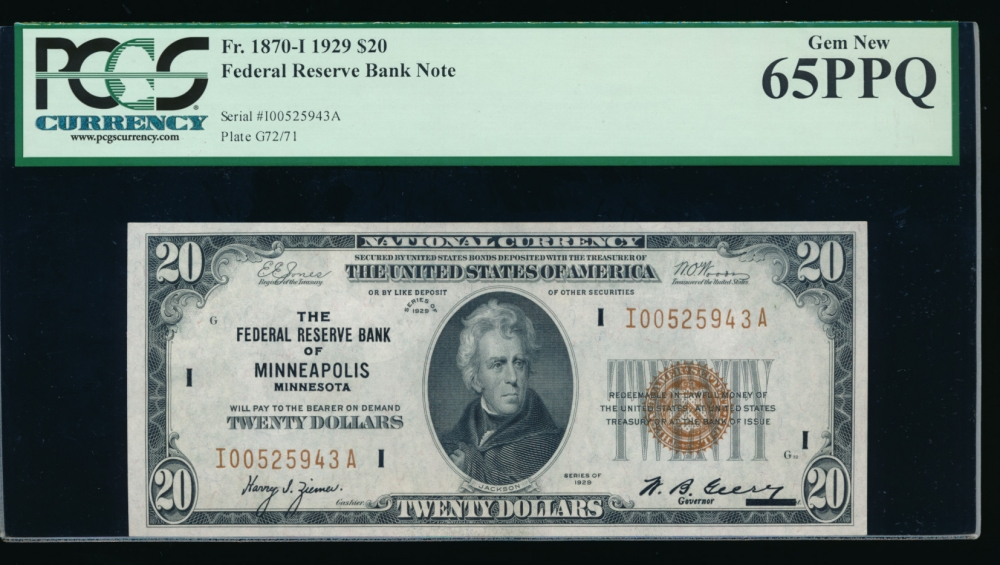 Fr. 1870-I 1929 $20  FRBN Minneapolis PCGS 65PPQ I00525943A