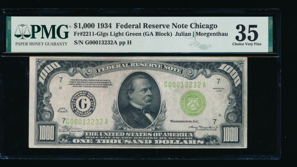 Fr. 2211-G 1934 $1,000  Federal Reserve Note Chicago LGS PMG 35 G00013232A