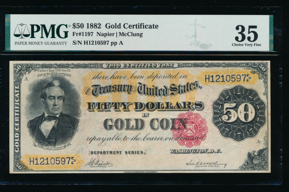 Fr. 1197 1882 $50  Gold Certificate  PMG 35 comment H1210597