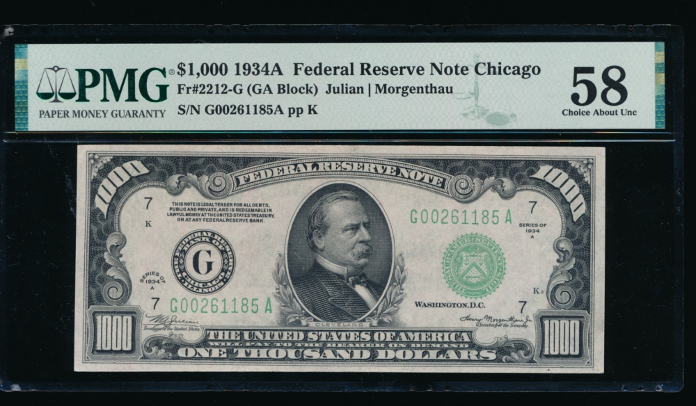 Fr. 2212-G 1934A $1,000  Federal Reserve Note Chicago PMG 58 G00261185A