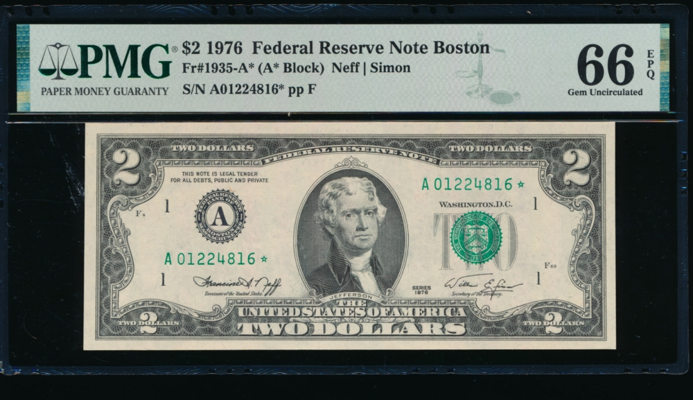 Fr. 1935-A 1976 $2  Federal Reserve Note Boston star PMG 66EPQ A01224816*