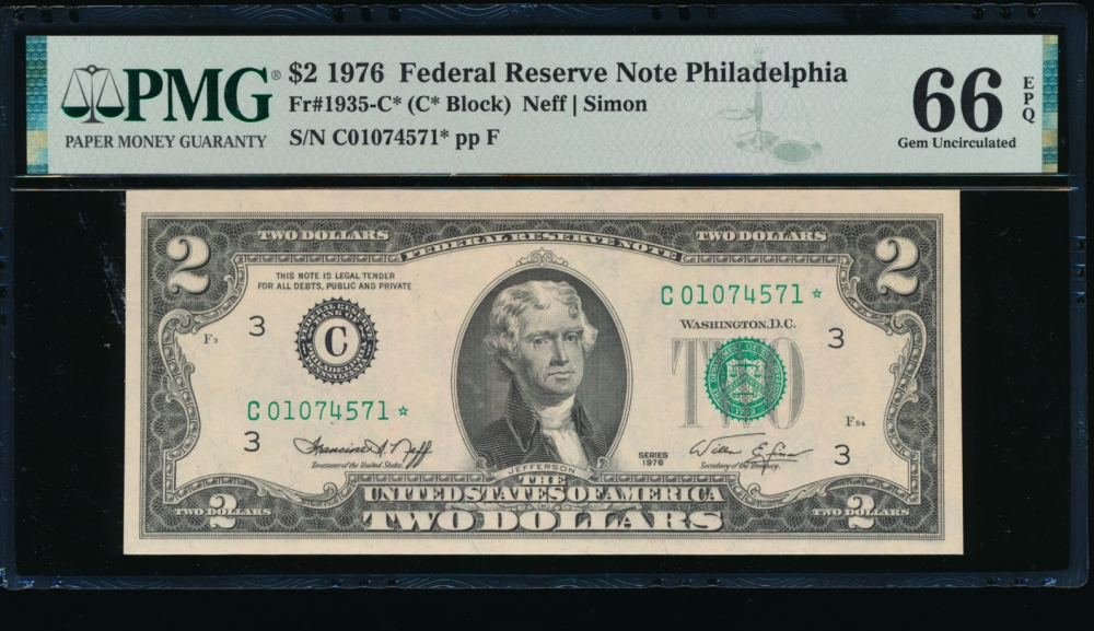 Fr. 1935-C 1976 $2  Federal Reserve Note Philadelphia star PMG 66EPQ C01074571*
