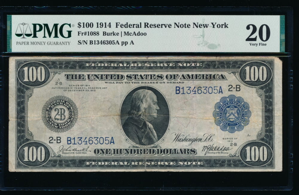Fr. 1088 1914 $100  Federal Reserve Note New York PMG 20 comment B1346305A