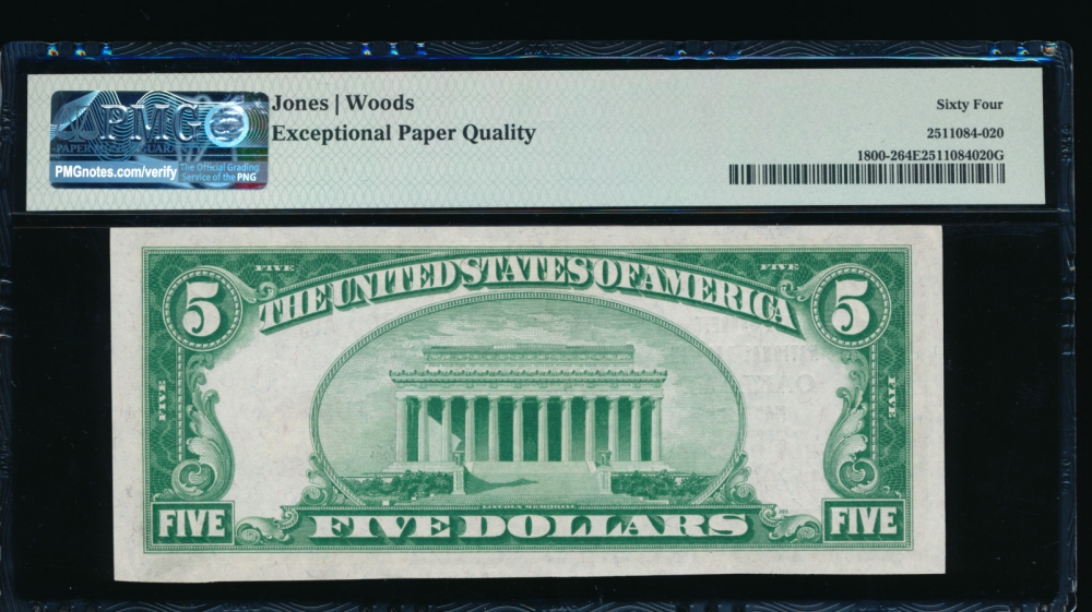 Fr. 1800-2 1929 $5  National: Type II Ch #13776 The Garrett National Bank in Oakland, Maryland PMG 64EPQ A014204 reverse