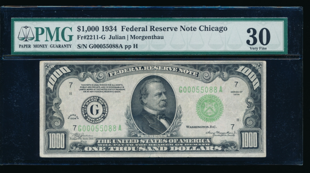 Fr. 2211-G 1934 $1,000  Federal Reserve Note Chicago PMG 30 G00055088A