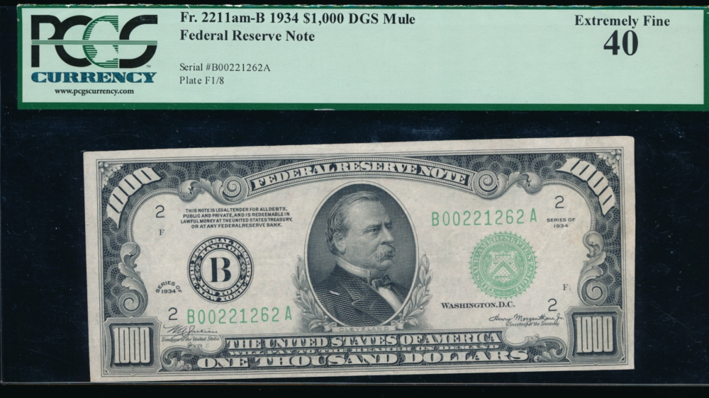 Fr. 2211-B 1934 $1,000  Federal Reserve Note New York PCGS-C 40 B00221262A