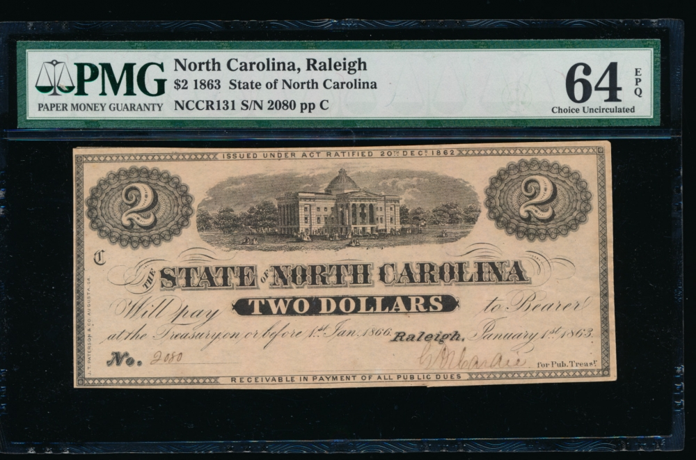 Fr. Cr NC-131 1863 $2  Obsolete State of North Carolina, Raleigh PMG 64EPQ 2080 C