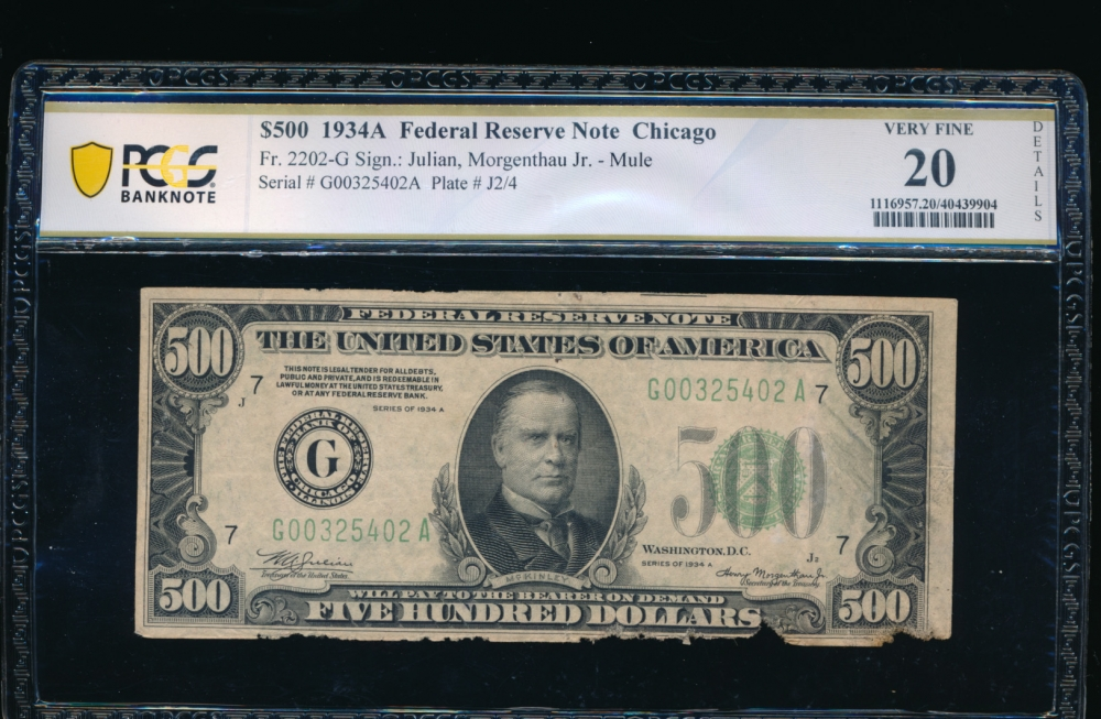 Fr. 2202-G 1934A $500  Federal Reserve Note Chicago PCGS 20 details G00325402A
