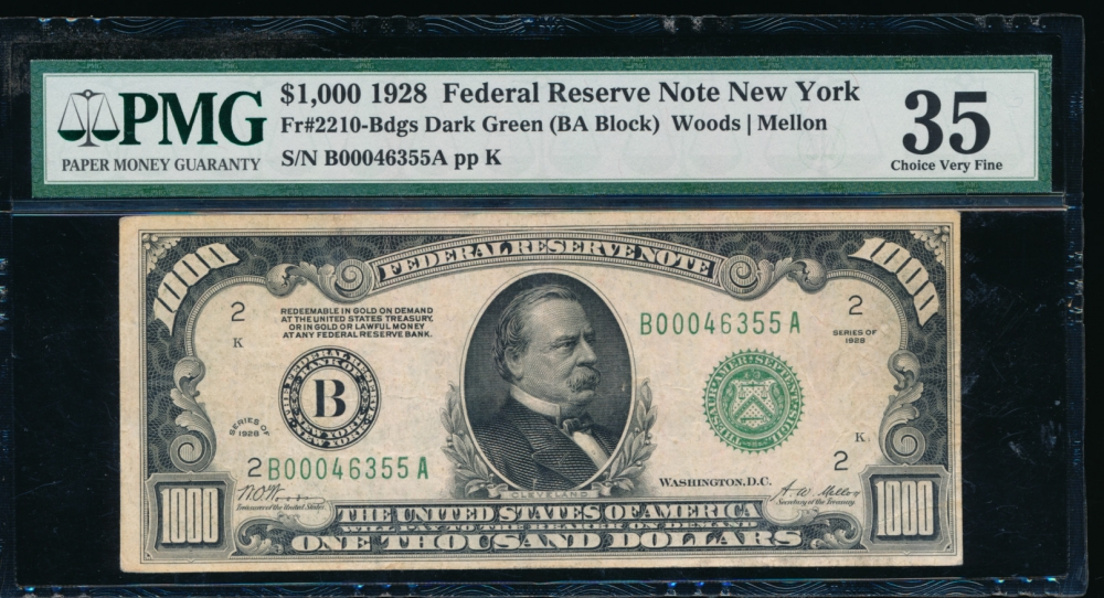 Fr. 2210-B 1928 $1,000  Federal Reserve Note New York PMG 35 B00046355A
