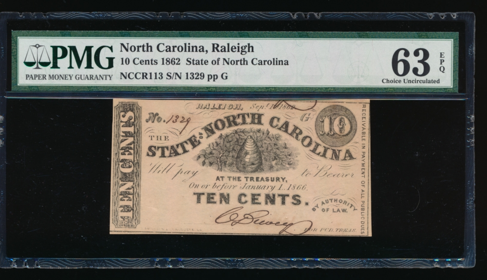 Fr. Cr NC-113 1862 $0.10  Obsolete State of North Carolina, Raleigh PMG 63EPQ 1329 G