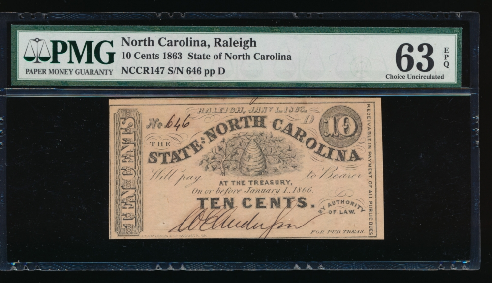 Fr. Cr NC-147 1863 $0.10  Obsolete State of North Carolina, Raleigh PMG 63EPQ 646 D