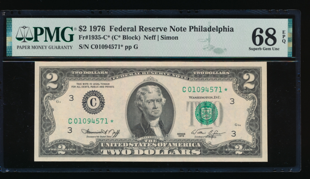 Fr. 1935-C 1976 $2  Federal Reserve Note Philadelphia star PMG 68EPQ C01094571*
