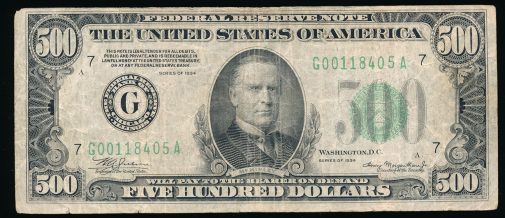 Fr. 2201-G 1934 $500  Federal Reserve Note Chicago VF- G00118405A