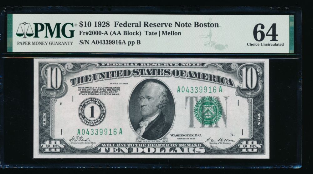 Fr. 2000-A 1928 $10  Federal Reserve Note Boston PMG 64 A04339916A