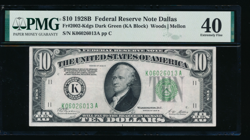 Fr. 2002-K 1928B $10  Federal Reserve Note Dallas PMG 40 K06026013A