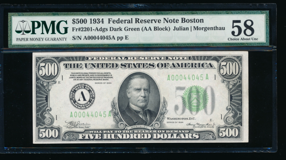 Fr. 2201-A 1934 $500  Federal Reserve Note Boston PMG 58 A00044045A
