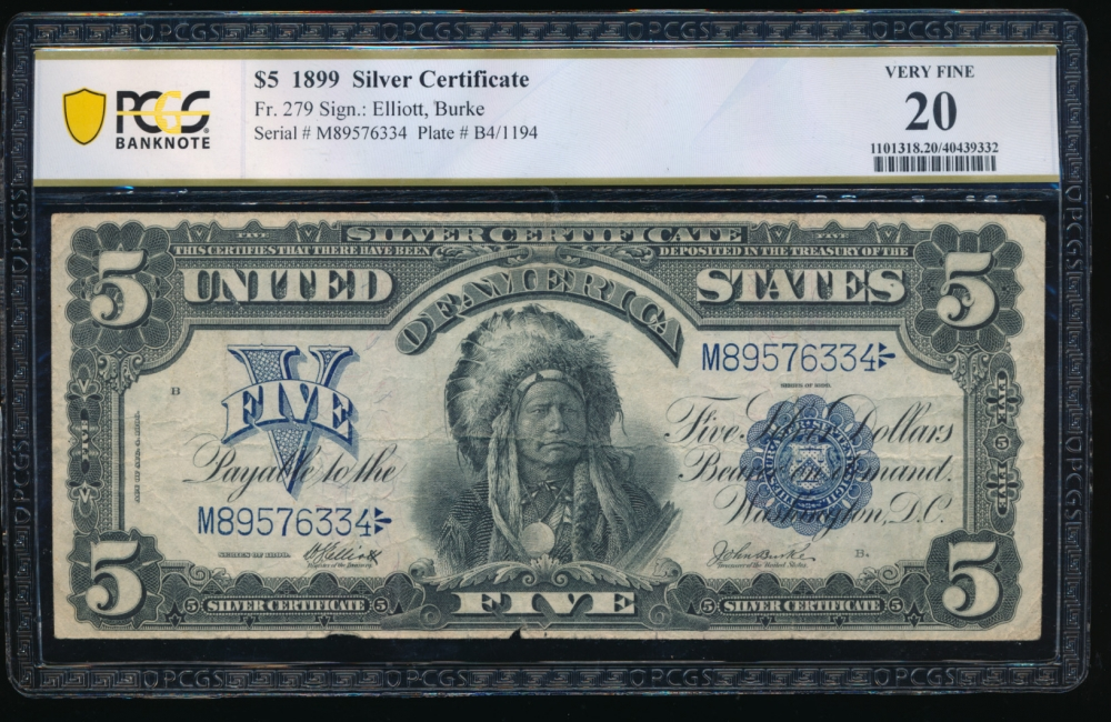 Fr. 279 1899 $5  Silver Certificate  PCGS 20 comment M89576334