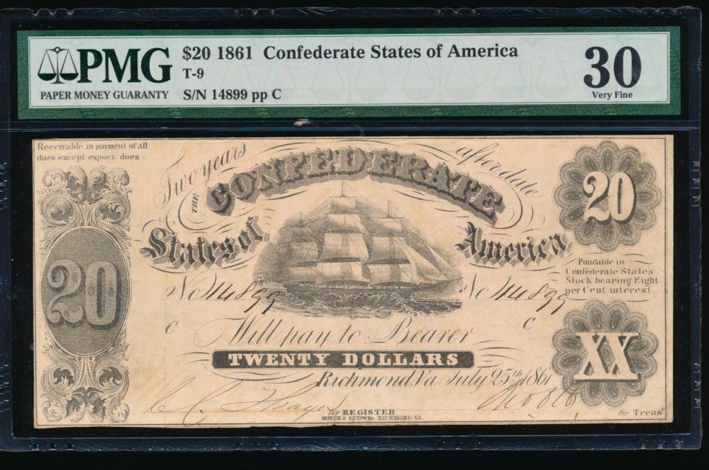 Fr. T-9 1861 $20  Confederate  PMG 30 comment 14899 C