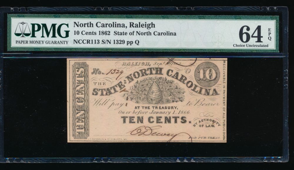Fr. Cr NC-113 1862 $0.10  Obsolete State of North Carolina, Raleigh PMG 64EPQ 1329 Q