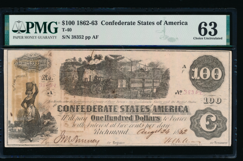 Fr. T-40 1862 $100  Confederate  PMG 63 comment 38352 obverse
