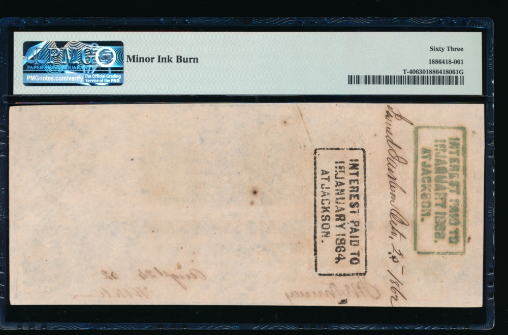 Fr. T-40 1862 $100  Confederate  PMG 63 comment 38352 reverse