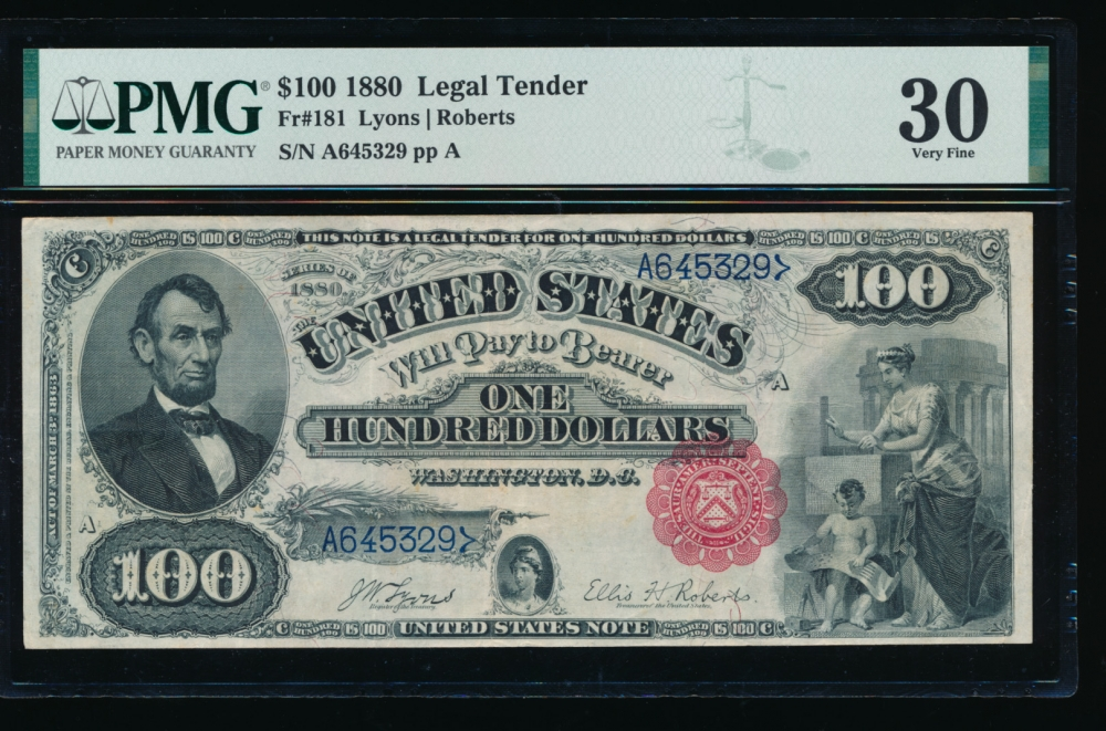 Fr. 181 1880 $100  Legal Tender  PMG 30 A645329 obverse