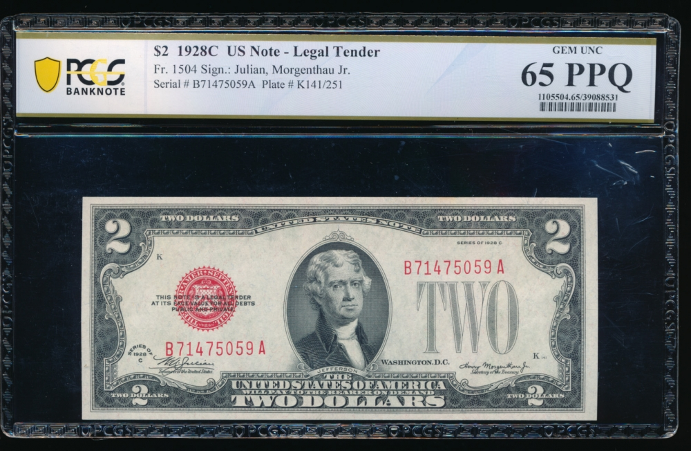Fr. 1504 1928C $2  Legal Tender BA block PCGS 65PPQ B71475059A