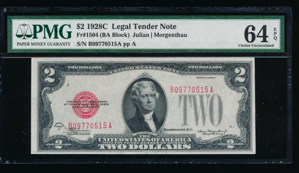 Fr. 1504 1928C $2  Legal Tender BA block PMG 64EPQ B09770515A