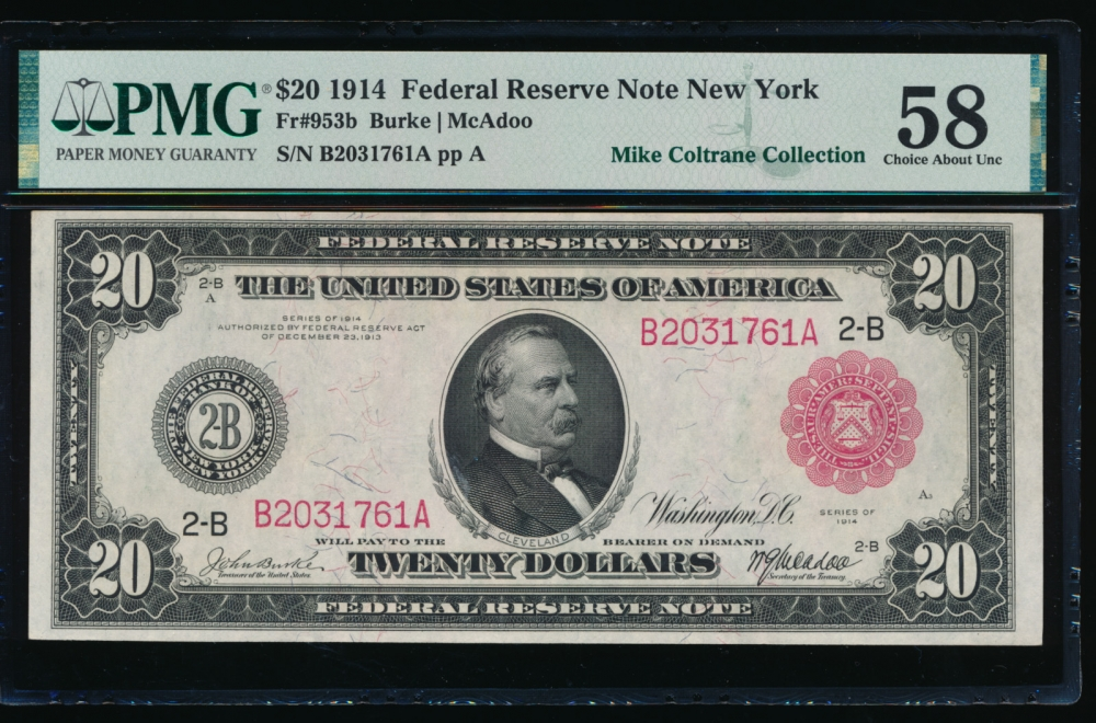 Fr. 953b 1914 $20  Federal Reserve Note New York red seal PMG 58 B2031761A
