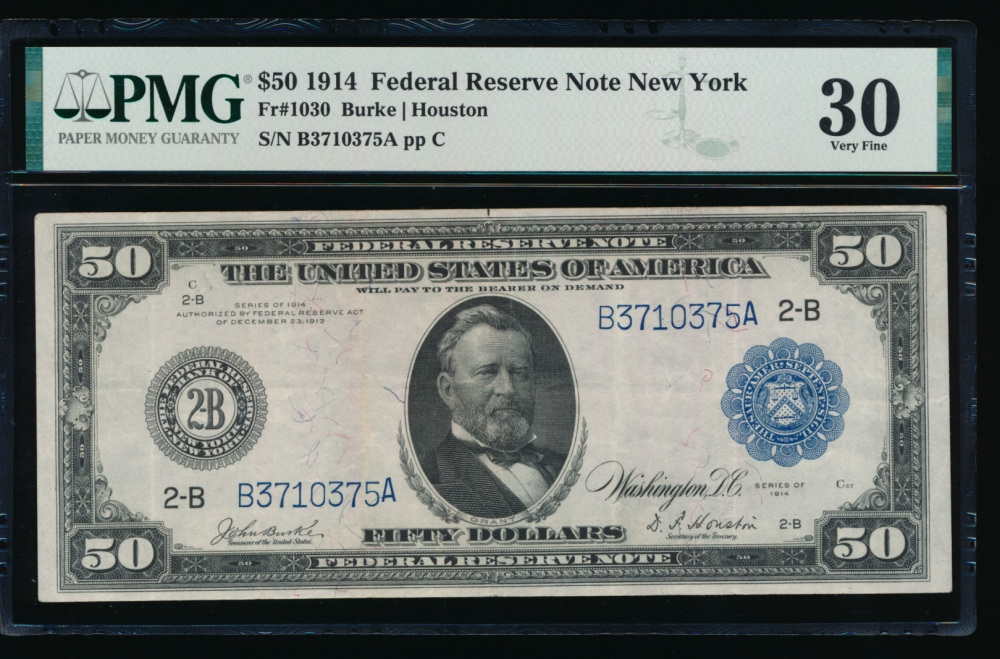 Fr. 1030 1914 $50  Federal Reserve Note New York PMG 30 B3710375A