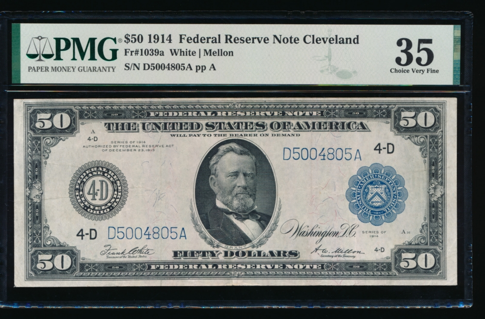 Fr. 1039a 1914 $50  Federal Reserve Note Cleveland PMG 35 D5004805A