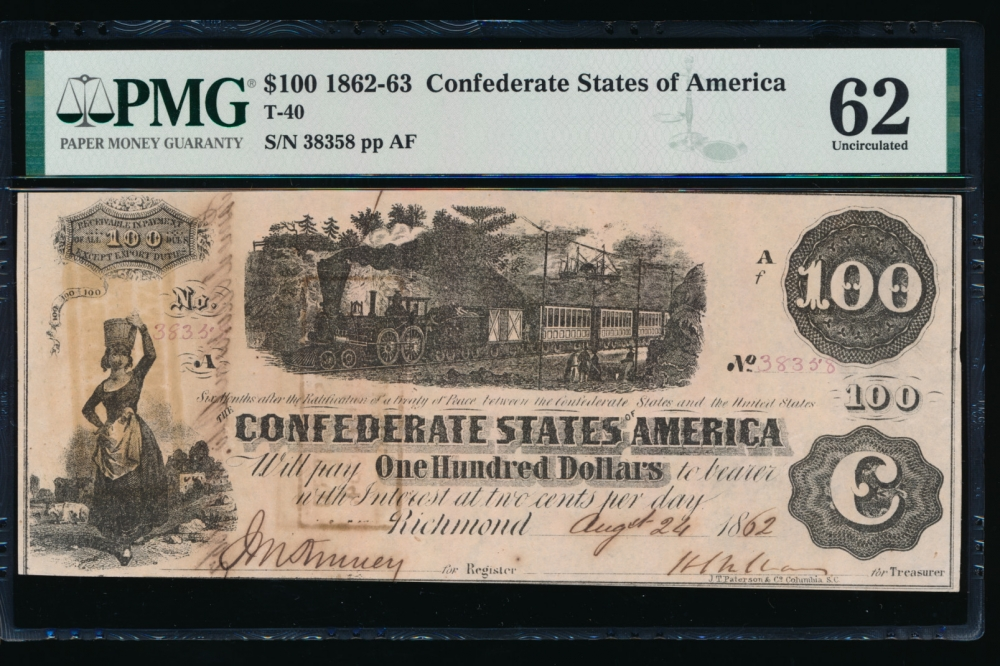 Fr. T-40 1862 $100  Confederate  PMG 62 comment 38358