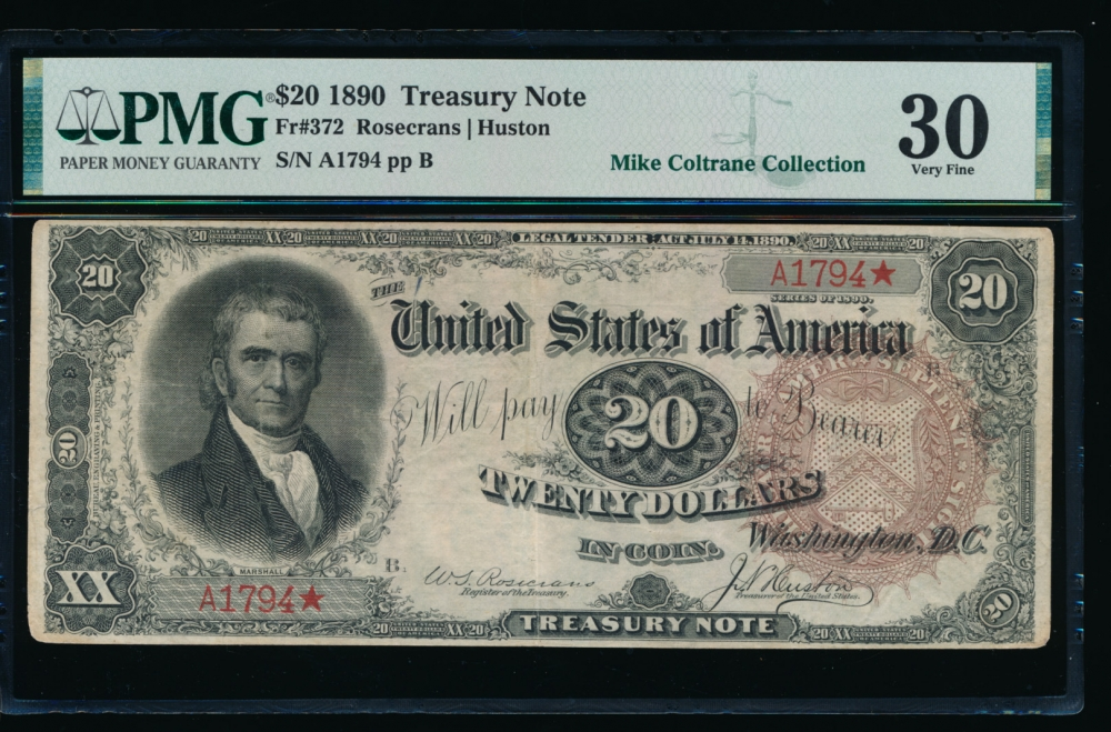 Fr. 372 1890 $20  Treasury Note  PMG 30 A1794