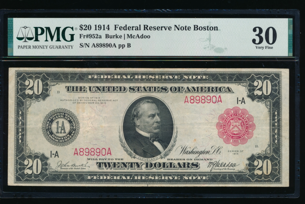 Fr. 952a 1914 $20  Federal Reserve Note red seal Boston PMG 30 A89890A