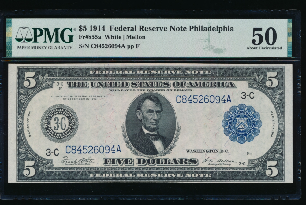 Fr. 855a 1914 $5  Federal Reserve Note Philadelphia PMG 50 G84526094A