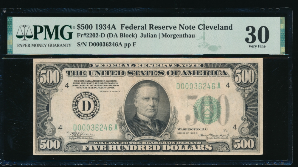 Fr. 2202-D 1934A $500  Federal Reserve Note Cleveland PMG 30 D00036246A