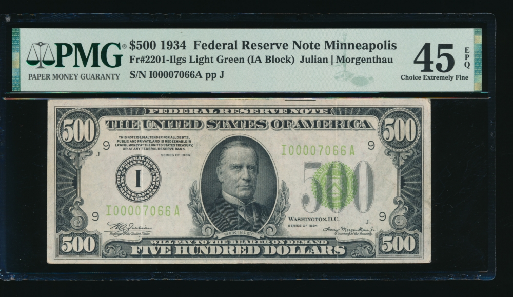 Fr. 2201-I 1934 $500  Federal Reserve Note Minneapolis LGS PMG 45EPQ I00007066A