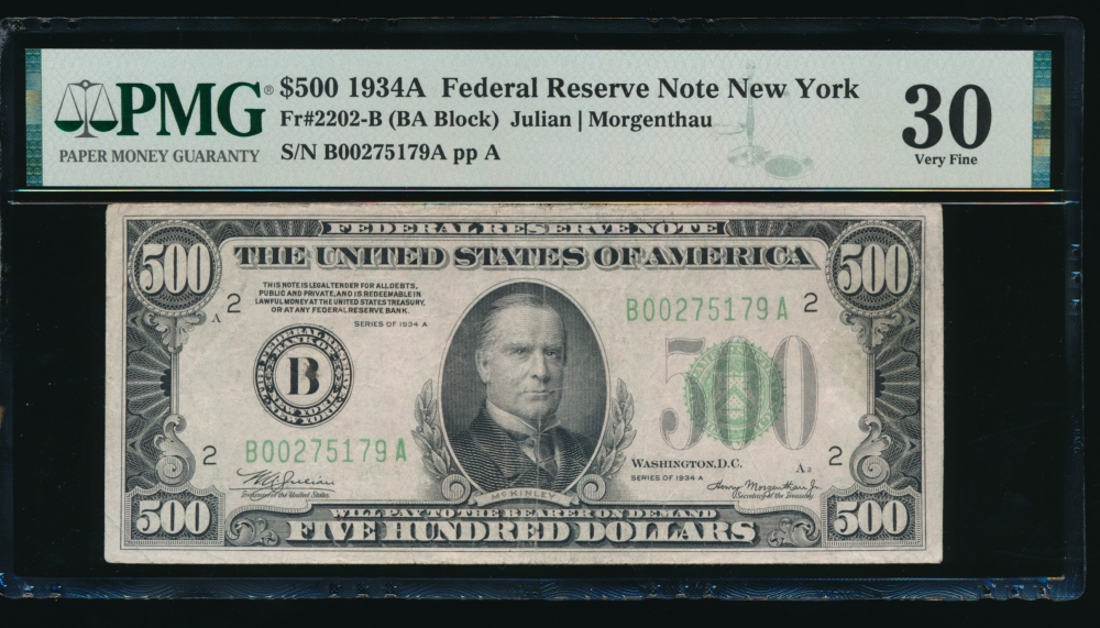 Fr. 2202-B 1934A $500  Federal Reserve Note New York PMG 30 comment B00275179A