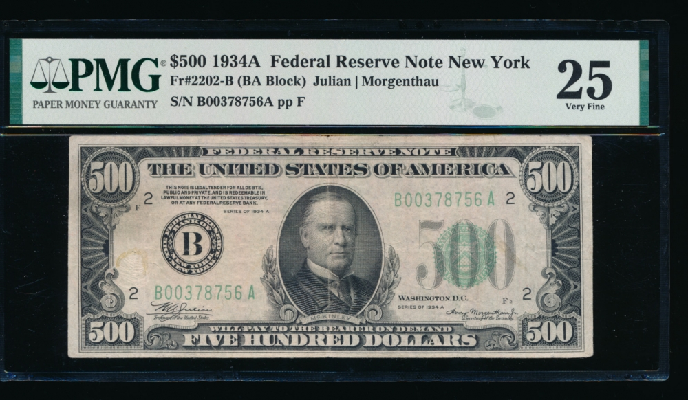 Fr. 2202-B 1934A $500  Federal Reserve Note New York PMG 25 comment B00378756A
